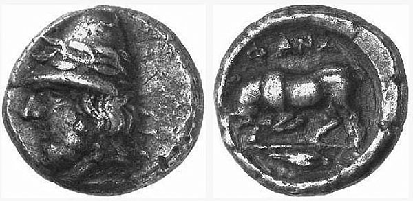 Кабир на монете из Фанагории (рис. 22)