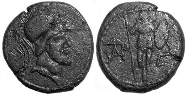 Изображение Ареса на монетах I в. н.э.