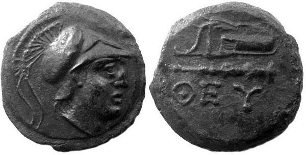 Афина на бронзовой монете города Феодосии, III века до н.э.