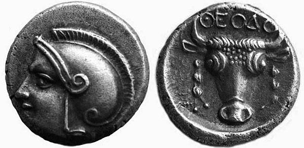 Афина на серебряном триоболе
