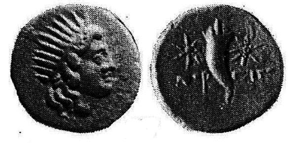 Изображение Гелиоса в лучевой короне на редчайшей серебряной драхме Горгиппии