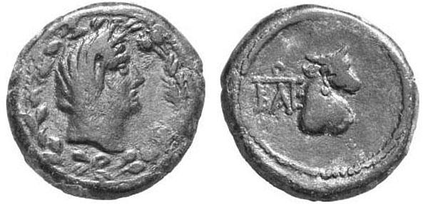 Деметра в покрывале на бронзовой монете Боспорского царства I в. н.э.