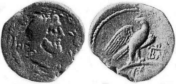На монетах городов Боспора образ Зевса появляется только в I в. н.э.
