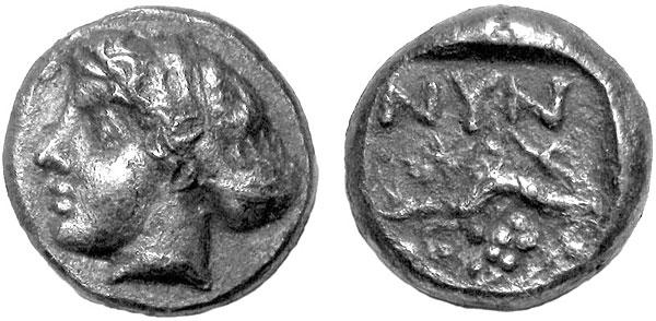 Нимфа на монете Нимфея