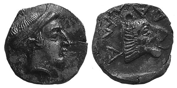 Возможно, первое изображение нимфы на монетах в Боспора с легендой ?????