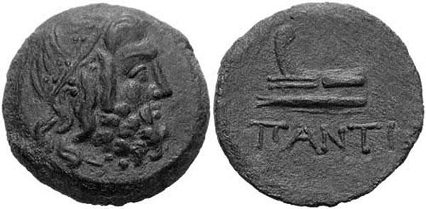 Посейдон в венке на бронзовой монете Пантикапея III в. до н.э.