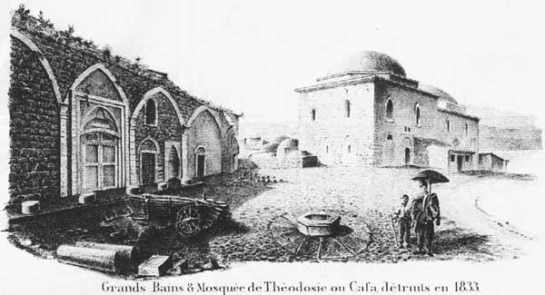 Турецкие бани и Мечеть Буюк Джами. Феодосия, 1834 г.