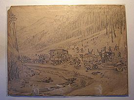"Рисунок Колодяжного ""Атака партизан"". 1942 г."